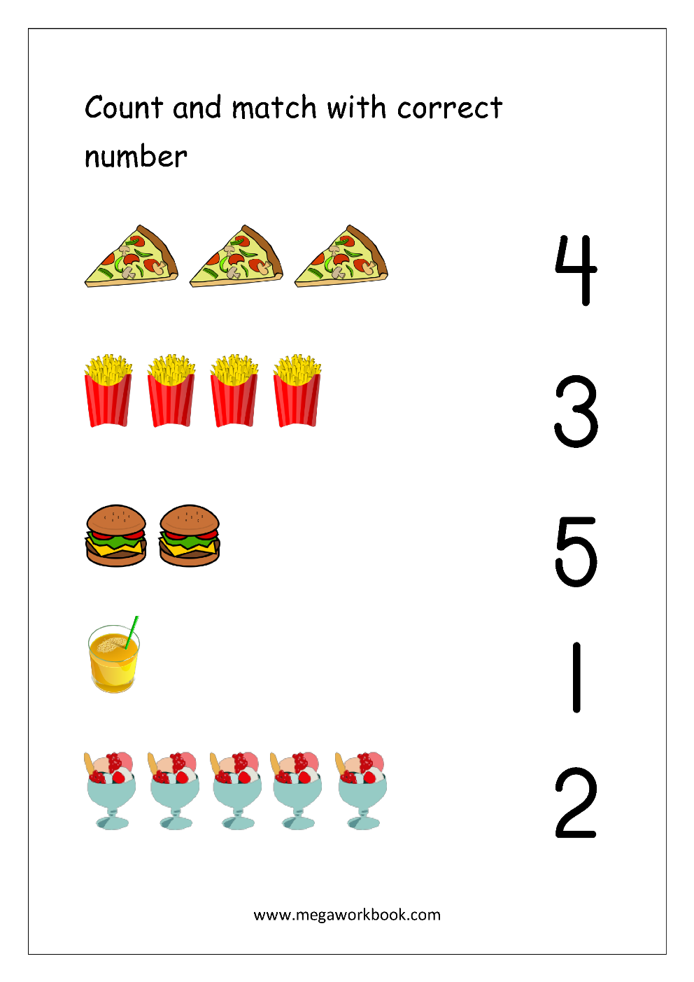 picture regarding Printable Number 5 called Totally free Printable Selection Matching Worksheets For Kindergarten