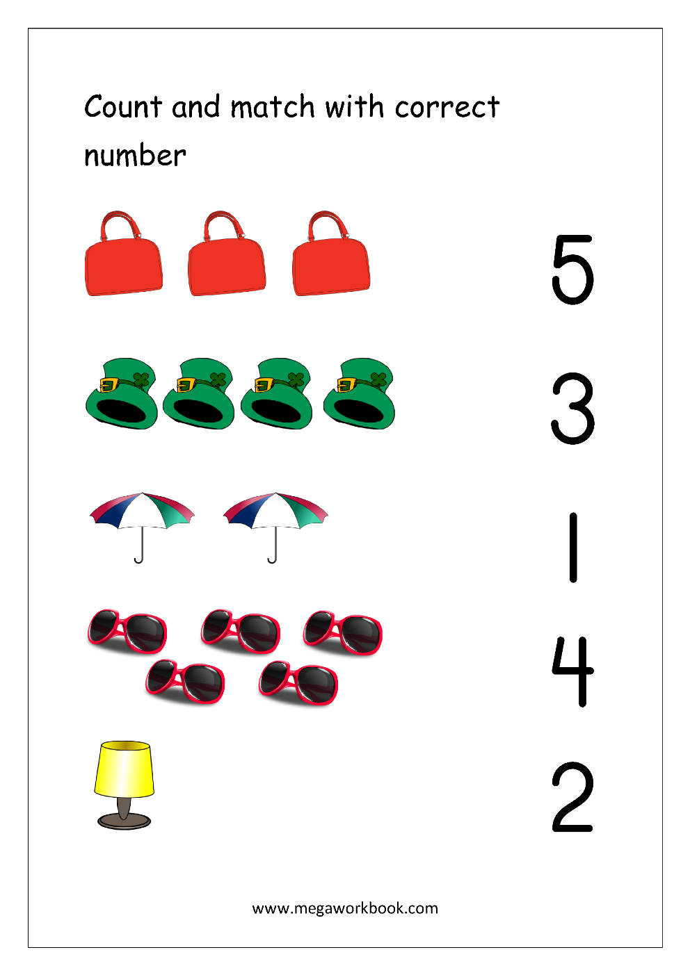 free math worksheets number matching megaworkbook