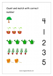 Math Worksheet - Count And Match With Number (1-5)