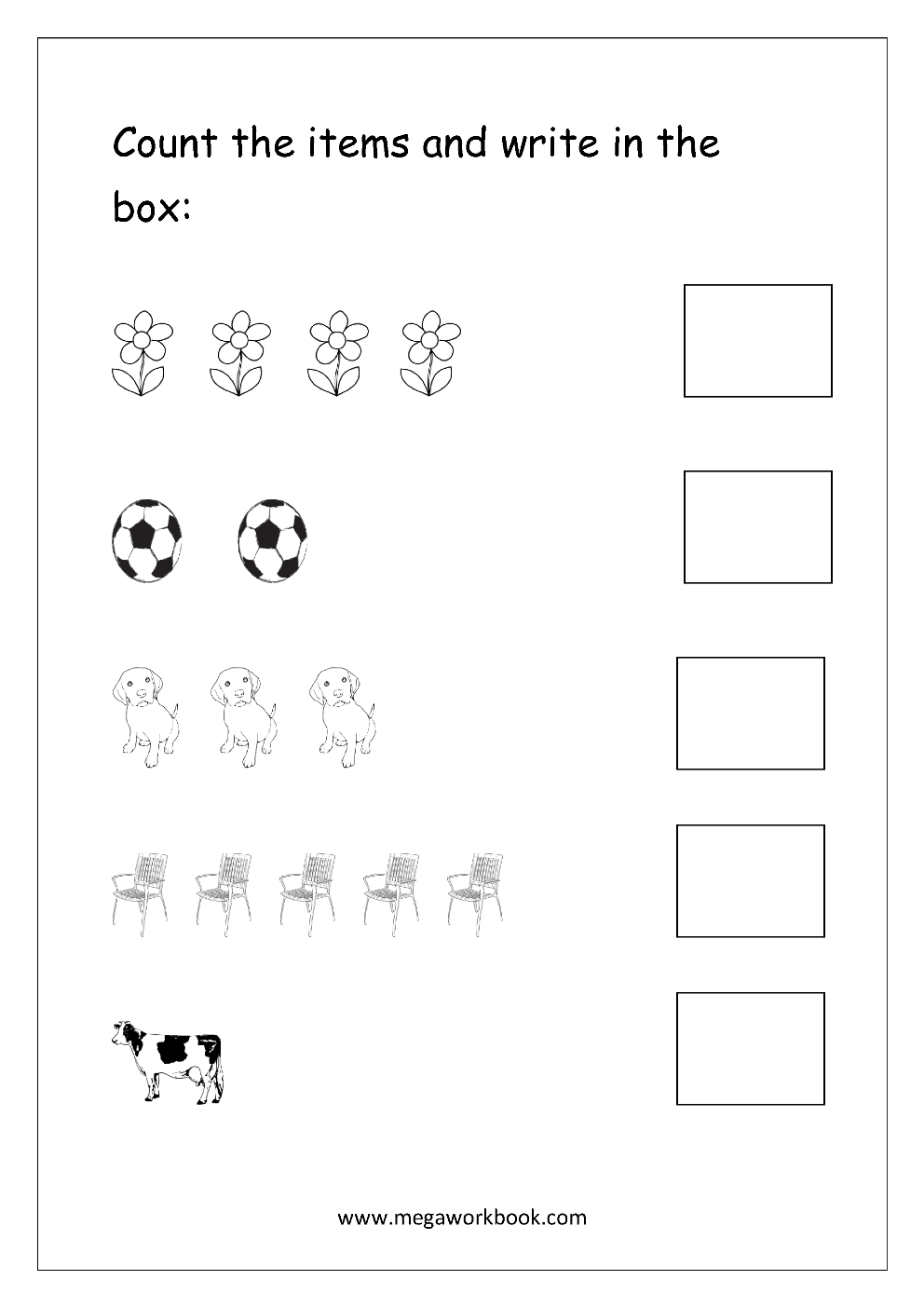 Free Math Worksheets - Number Counting - MegaWorkbook