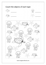 Math Worksheet - Count Objects Of Different Types (1-10)