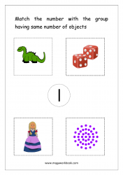 Math Worksheet - Match Number With Same Number Of Objects (Number 1)
