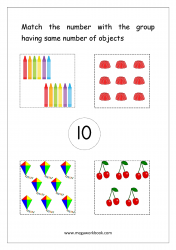 Math Worksheet - Match Number With Same Number Of Objects (Number 10)