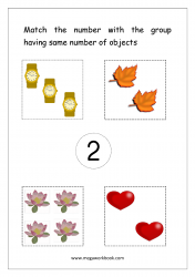 Math Worksheet - Match Number With Same Number Of Objects (Number 2)