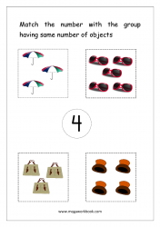 Math Worksheet - Match Number With Same Number Of Objects (Number 4)