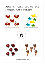 Math Worksheet - Match Number With Same Number Of Objects (Number 6)