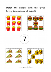 Math Worksheet - Match Number With Same Number Of Objects (Number 7)