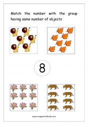 Math Worksheet - Match Number With Same Number Of Objects (Number 8)