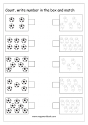 Math Worksheet - Count And Match The Groups With Same Number Of Objects (1 to 10)