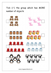 Math Worksheet - Mark The Group With More Number of Objects (1 to 10)