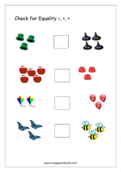 Math Worksheet - Check For Equality (Less, More, Equal) (1 to 5)
