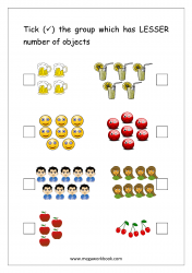 Math Worksheet - Mark The Group With Less Number of Objects (1 to 10)