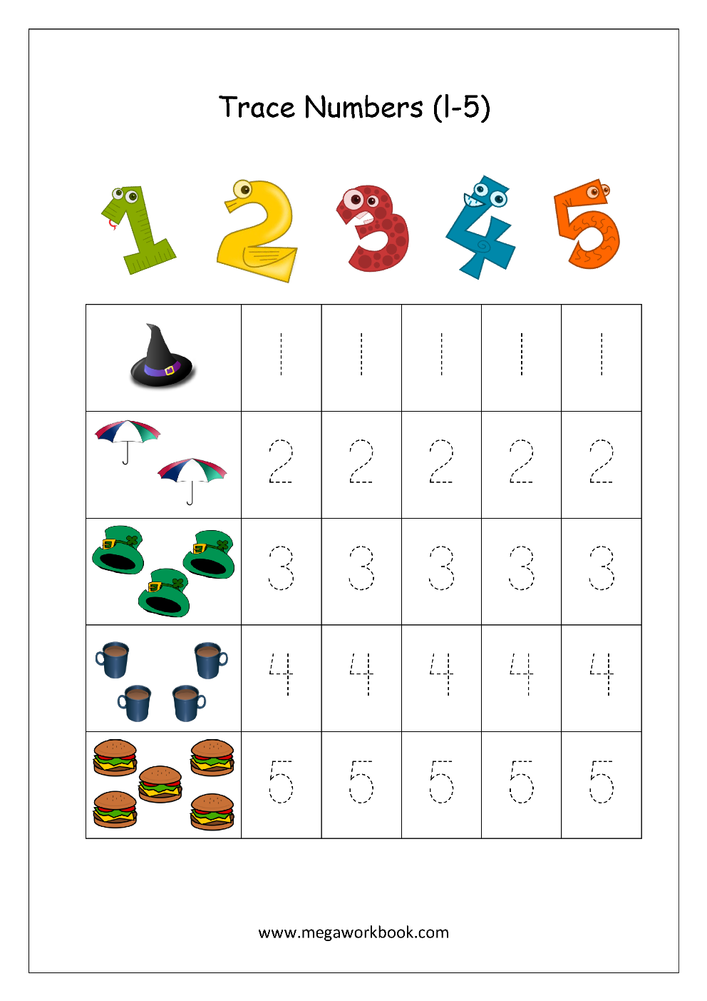 Math Worksheet Number Tracing Counting Numbers 1 To 5