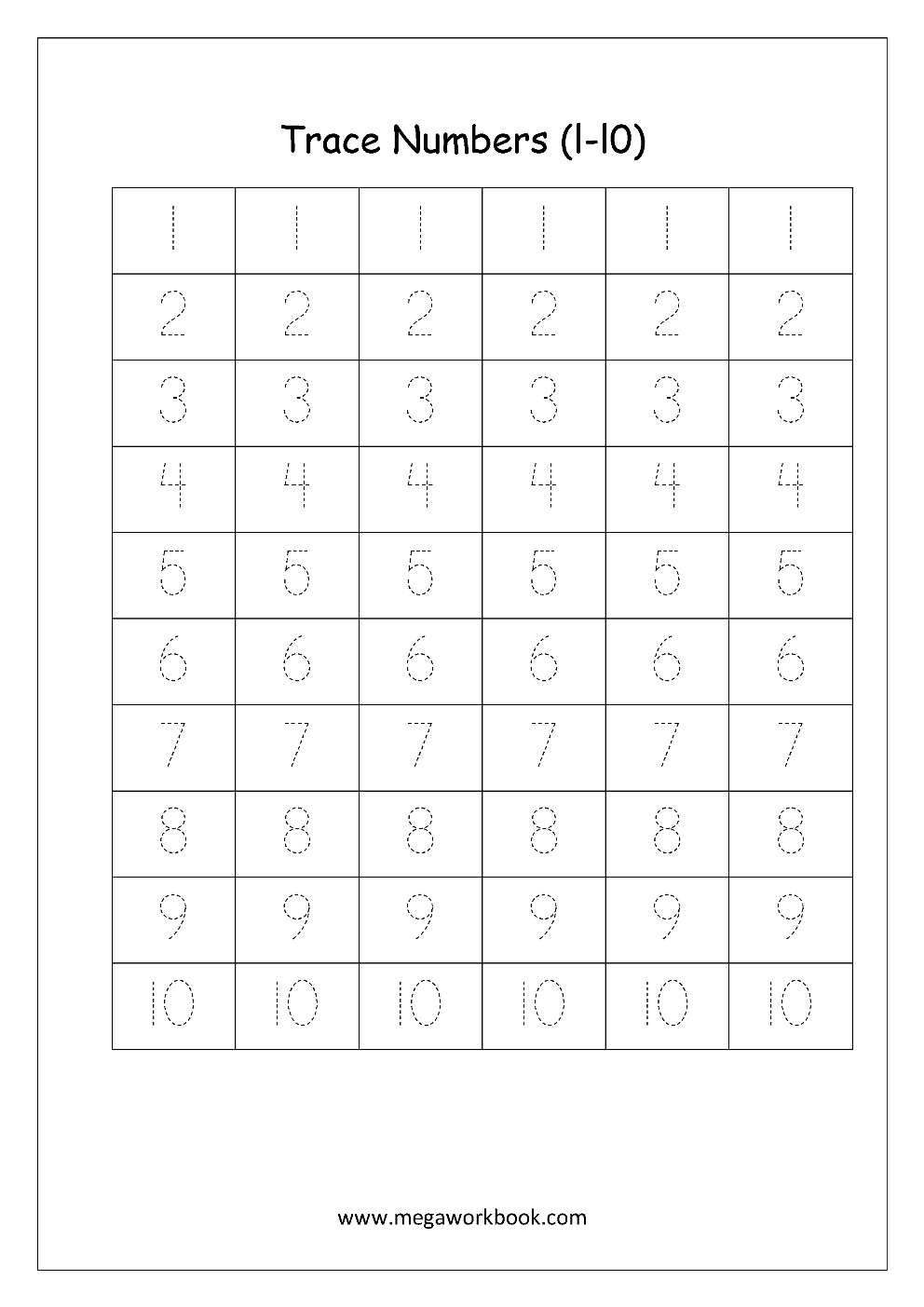 Math Worksheet Number Tracing Numbers 1 To 10