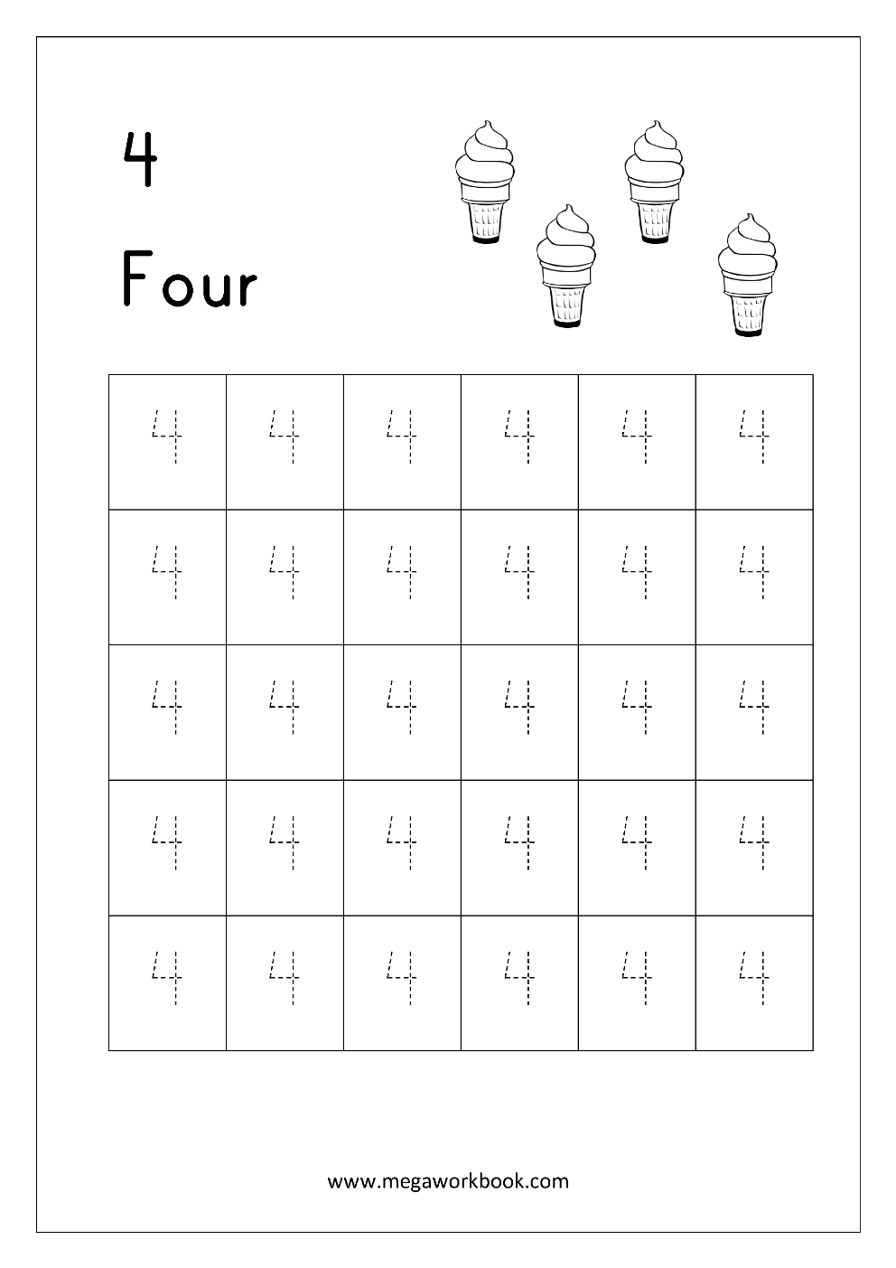 Free Math Worksheets Number Tracing and Writing MegaWorkbook – Number 4 Worksheet