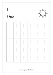 Math Worksheet - Number Tracing & Counting - Number One (1)