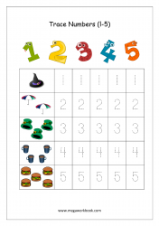 Math Worksheet - Number Tracing 1 to 5