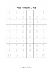 Math Worksheet - Number Tracing - Numbers 1 to 10
