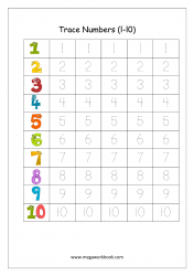 Math Worksheet - Number Tracing 1 to 10