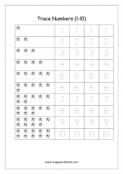 Math Worksheet - Number Tracing & Counting - Numbers 1 to 10