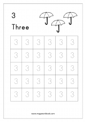 Math Worksheet - Number Tracing & Counting - Number Three (3)