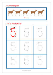 Number Tracing Worksheet - Tracing Numbers (1-10) - Tracing Number 5