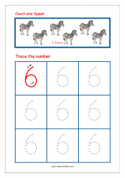 Number Tracing Worksheet - Tracing Numbers (1-10) - Tracing Number 6