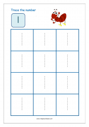 Number Tracing Worksheet - Tracing Numbers (1-10) - Tracing Number 1