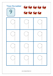 Number Tracing Worksheet - Tracing Numbers (1-10) - Tracing Number 9
