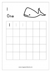 Math Worksheet - Number Tracing & Writing - Counting - Number One (1)