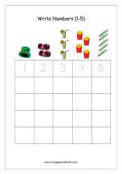 Math Worksheet - Number Writing 1 to 5