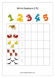 Math Worksheet - Number Tracing & Writing - Counting - 1 to 5