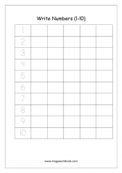 Math Worksheet - Number Writing 1 to 10