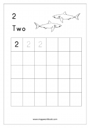 Math Worksheet - Number Tracing & Writing - Counting - Number Two (2)