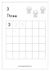 Math Worksheet - Number Tracing & Writing - Counting - Number Three (3)