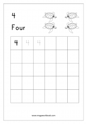 Math Worksheet - Number Tracing & Writing - Counting - Number Four (4)