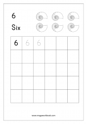 Math Worksheet - Number Tracing & Writing - Counting - Number Six (6)