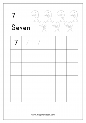 Math Worksheet - Number Tracing & Writing - Counting - Number Seven (7)