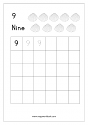 Math Worksheet - Number Tracing & Writing - Counting - Number Nine (9)