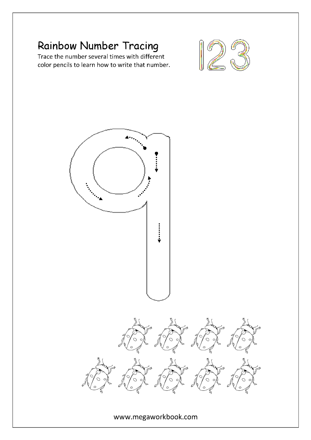 Free Worksheets free tracing numbers 1 10 worksheets : Worksheet. Tracing Number 9. Yaqutlab Free Worksheet