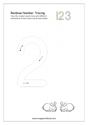 Rainbow Writing Worksheet - Rainbow Tracing Number 2