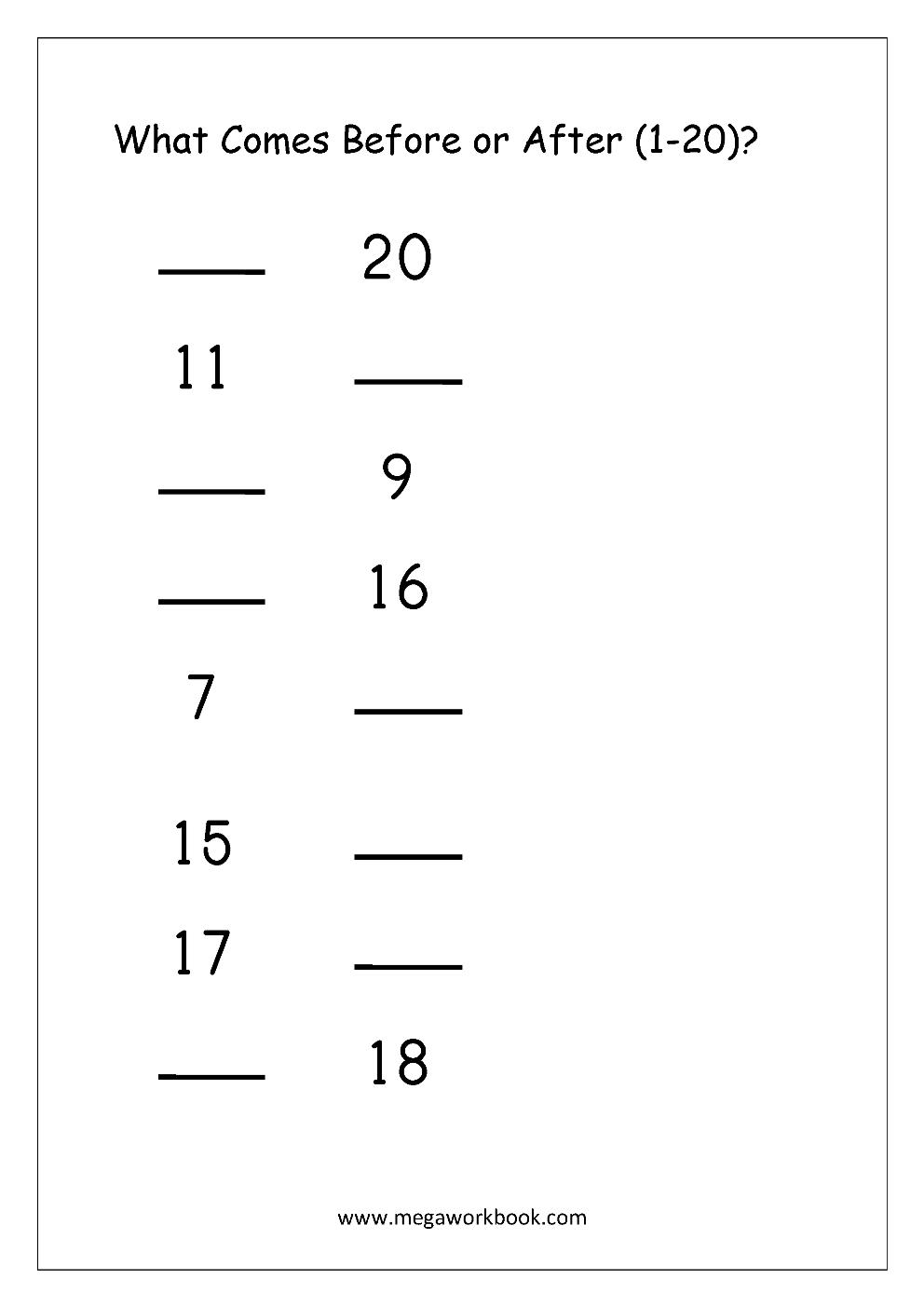 Free Math Worksheets - Number Order - Missing Numbers - MegaWorkbook