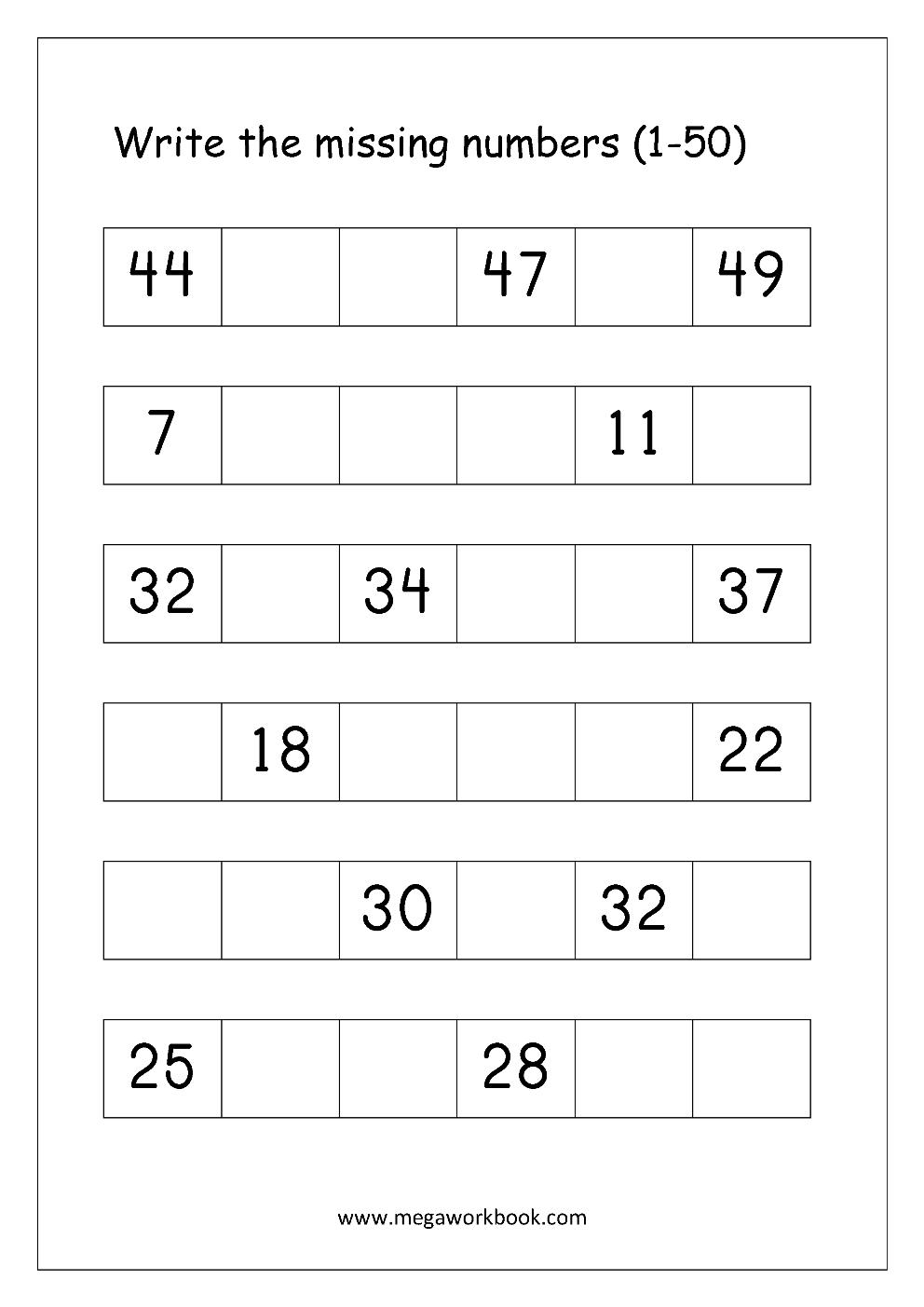free printable number order worksheets - missing numbers  1-10  1-20  1-50  1-100