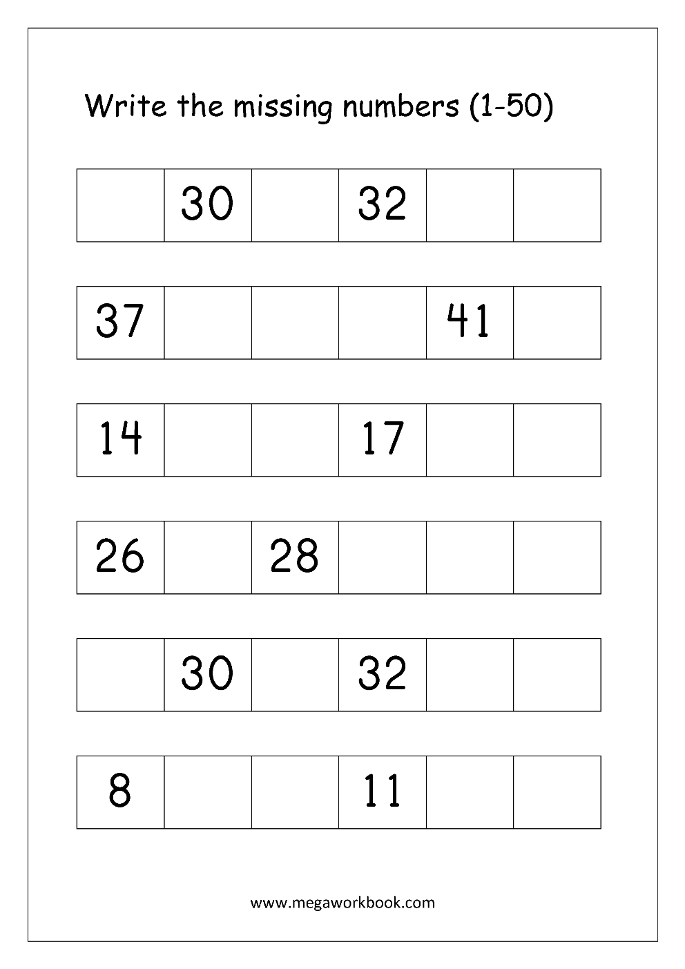 Free Printable Number Order Worksheets - Missing Numbers (1-10, 1-20 ...