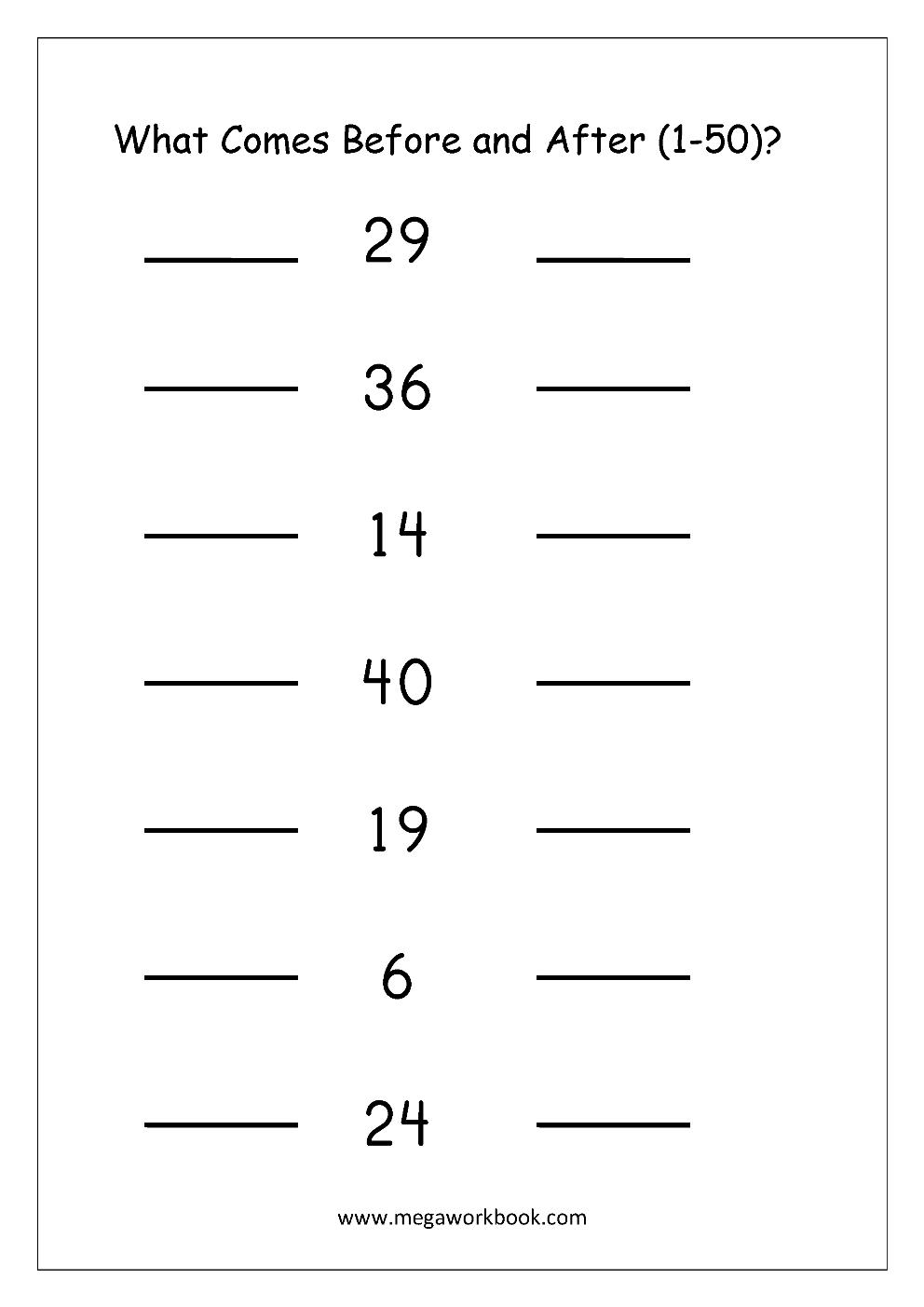 Free Printable Number Order Worksheets - Missing Numbers (1-10, 1-20 ...