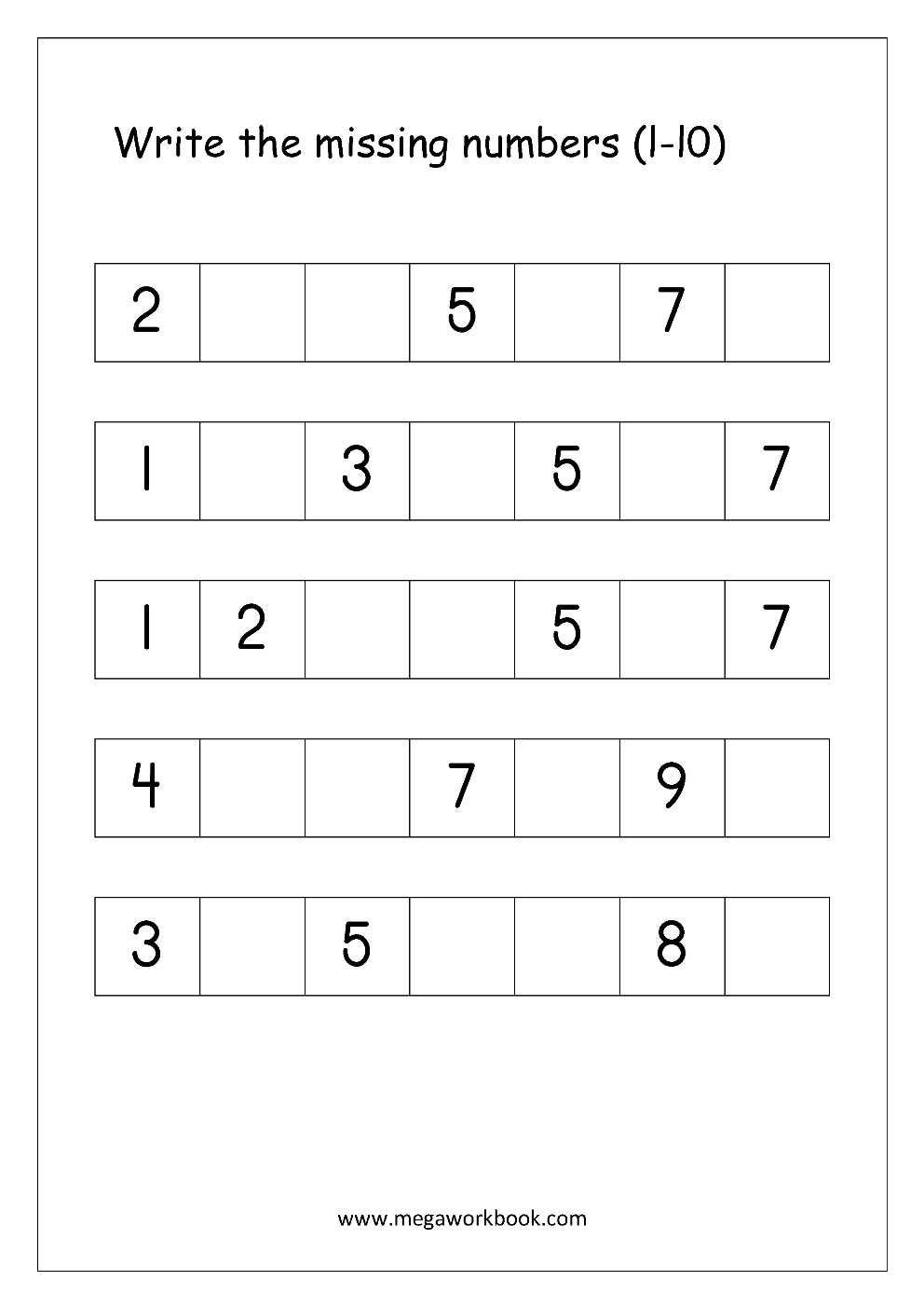 Free Printable Number Order Worksheets Missing Numbers 1 10 1 20