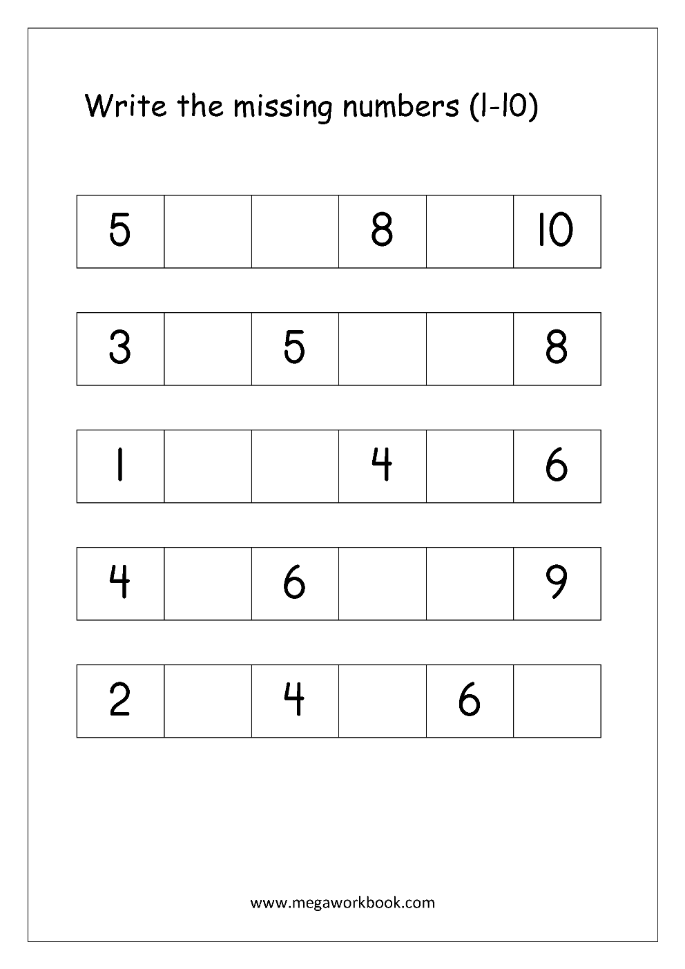 Free Math Worksheets - Number Ordering and Missing Numbers ...