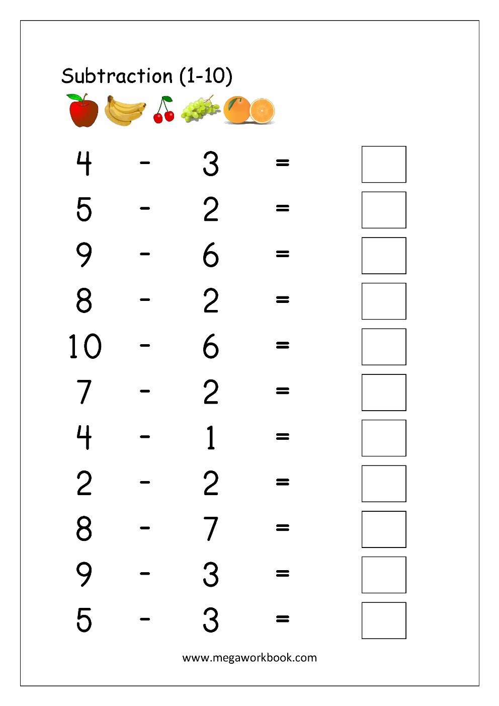 Subtraction From 10 Worksheet mixed problems worksheets mixed – Subtraction to 10 Worksheets
