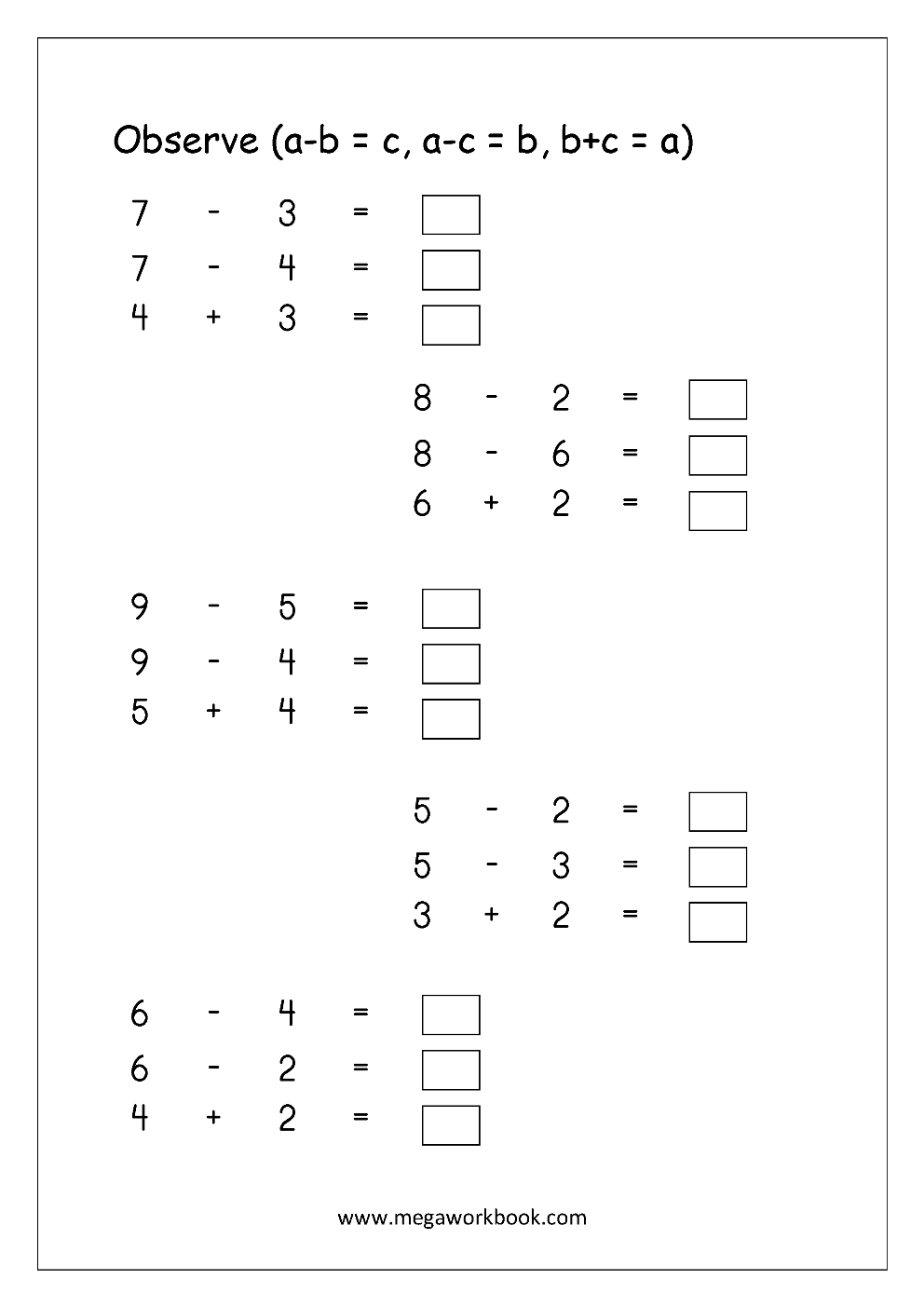 Free Math Worksheets - Subtraction - MegaWorkbook