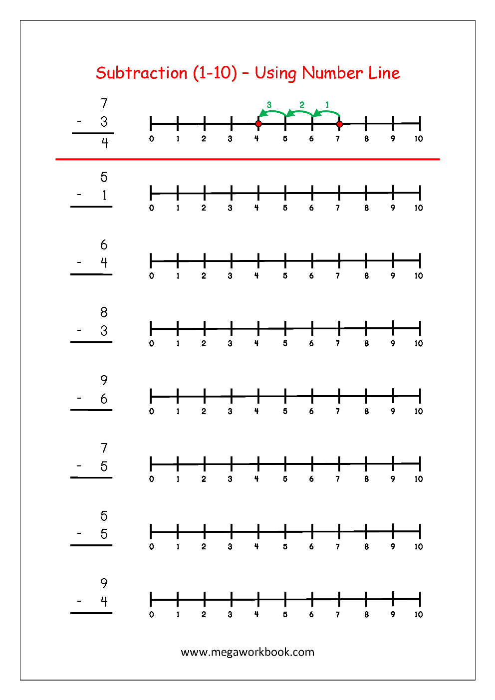 Free Printable Number Subtraction 1 10 Worksheets For